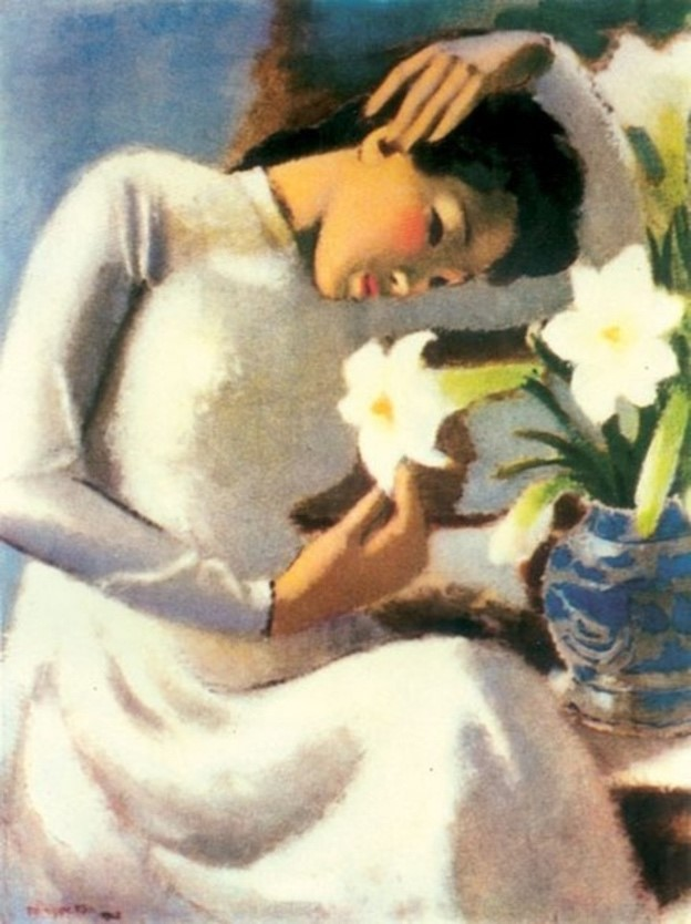 On the left is  Tô Ngọc Vân's Young woman by the lily painting depicting a woman in a white Vietnamese áo dài leaning her head downward to a white lily. Her right hand is caressing a lily petal and her left arm is resting on top of her head delicately.