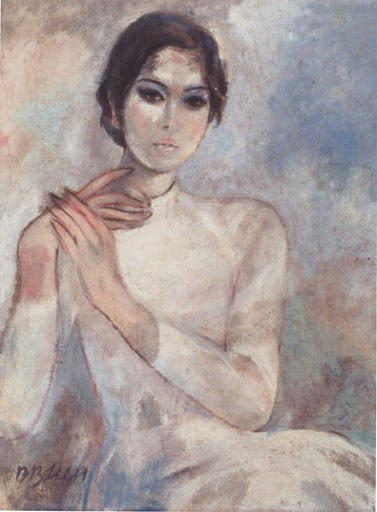 On the left is Dương Bích Liên's Ms. Mai painting depicting a young woman in a white Vietnamese áo dài with her hair in a bun behind her head. Her right hand is touching her shoulder while her left is grabbing onto her right wrist. The background is an ombre spread with brown, peach color, and light blue.