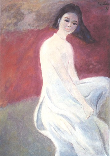 On the left is Dương Bích Liên's Young woman in white áo dài depicting a short-haired woman sitting with her left knee up. Both of her hands seem to grab at her raised legs. Her hair flies in the wind in front of a brown and red background.