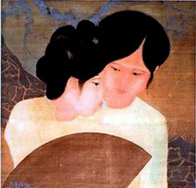 On the left is Nguyễn Tường Lân's Pair of Friends depicting two women wearing white and rolling their hair up into braids on their head. One woman is holding a brown paper fan and looking toward something on her left. The other woman, however, is looking at her friend.