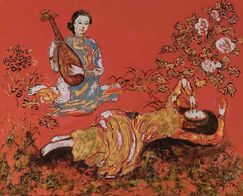 Nguyễn Gia Trí's Composition painting depicts two women sitting in a field of flowers over a red background. One woman is in blue áo dài holding a Vietnamese đàn tỳ bà. The other woman is wearing a gold áo dài and lounging on the grass with one hand above her head and one caressing her cheek.