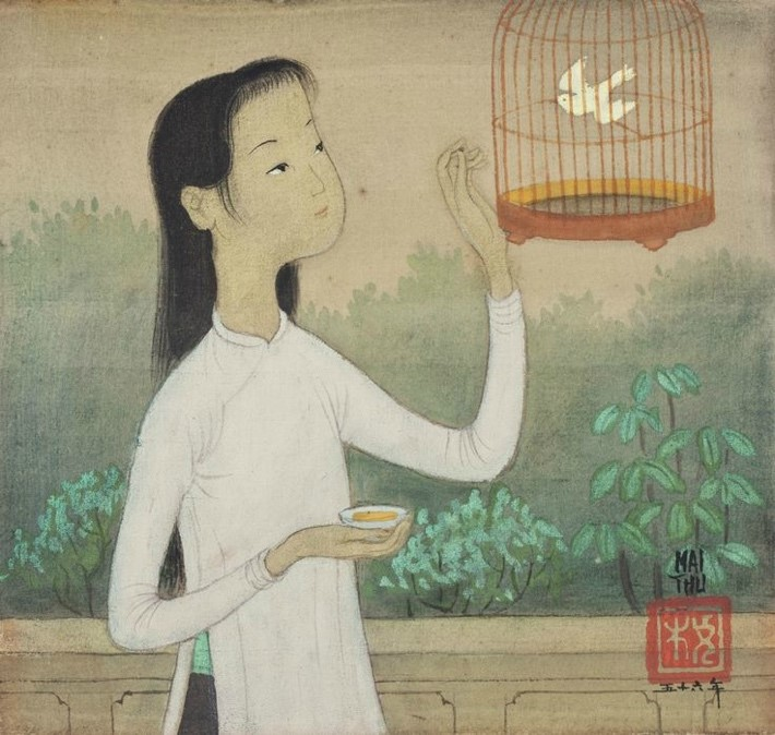 Above is Mai Trung Thứ's La Cage painting depicting a woman holding a small saucer with tea in it and admiring a white bird in a cage. She seems to be standing in front of a balcony with trees in the background.
